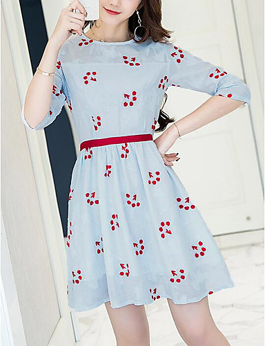 Women's Going out Cute A Line Dress,Floral Round Neck Above Knee Half Sleeves Polyester Summer Mid Rise Inelastic Medium