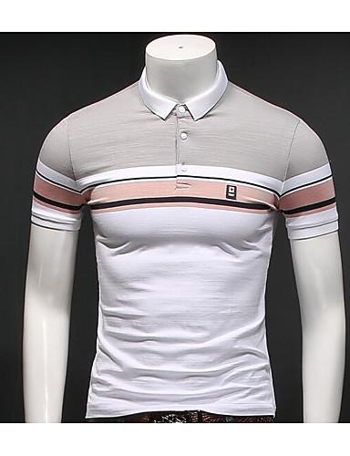 Bomull Kortermet,Skjortekrage Polo Stripet Enkel Daglig Avslappet Herre