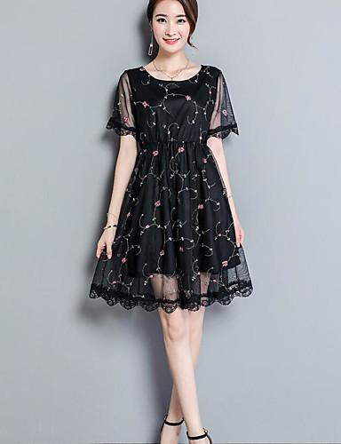 Women's Simple Lace Dress - Floral / Summer