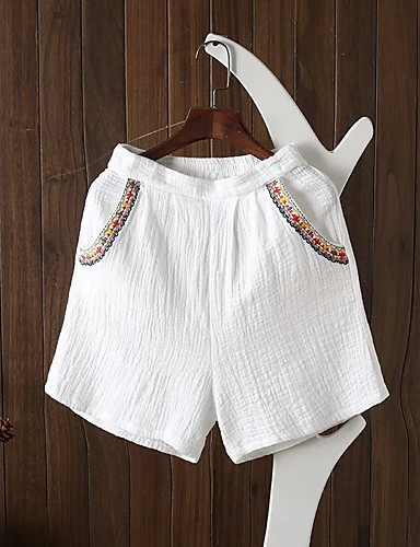 Women's Mid Rise strenchy Relaxed Shorts Pants,Street chic Embroidery Spring Summer Fall