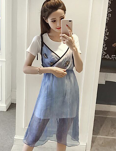 Women's Daily Casual Casual Summer T-shirt Dress Suits,Striped Color Block Round Neck Short Sleeve Cotton Micro-elastic