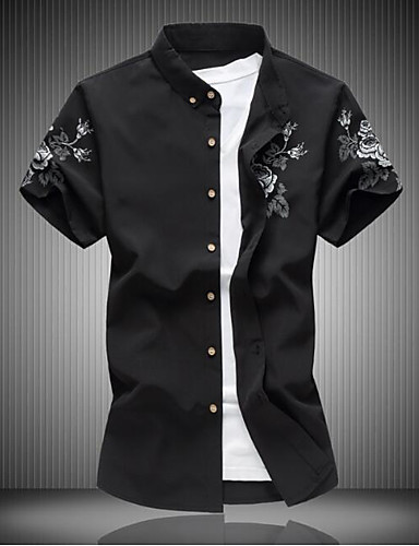 Men's Casual/Daily Work Simple Shirt,Solid Print Shirt Collar Short Sleeves Cotton Others