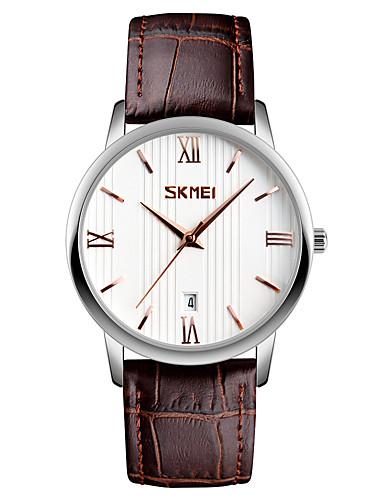SKMEI Homens Quartzo Relógio de Pulso Japanês Calendário Impermeável Couro Banda Relógio Elegante Fashion Legal Preta Marrom