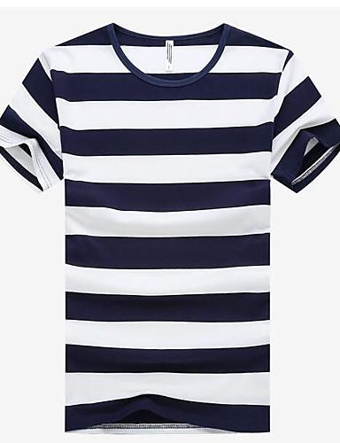 Bomull Annet Kortermet,Rund hals T-skjorte Stripet Trykt mønster Enkel Fritid/hverdag Herre