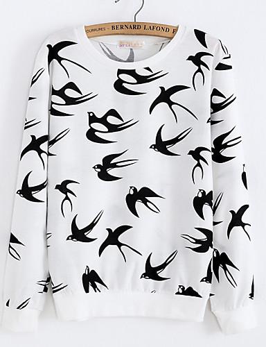 Women's Daily Sweatshirt Print Round Neck Micro-elastic Cotton Long Sleeve Fall