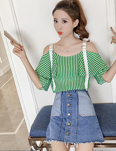 Women's Daily Casual Summer T-shirt Skirt Suits,Striped Strap Short Sleeve Polyester