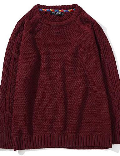 Men's Casual Regular Pullover,Solid Round Neck Long Sleeves Acrylic Fall Medium Micro-elastic