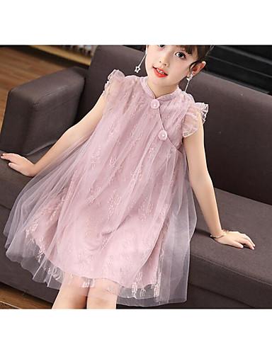 Girl's Solid Dress Short Sleeve Floral Cartoon Blushing Pink Light Green