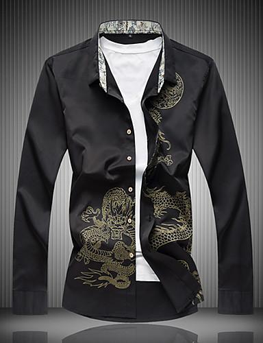 billige Herreskjorter-Herre - Dyr Bomuld, Trykt mønster Kineseri Skjorte Drage Sort XXXXL / Langærmet