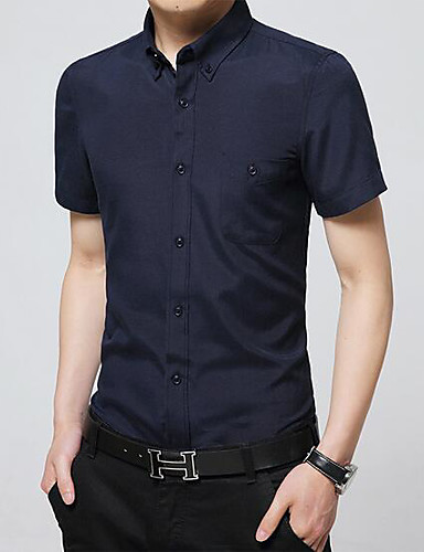Men's Casual/Daily Work Simple Shirt,Solid Floral Shirt Collar Short Sleeves Cotton Others