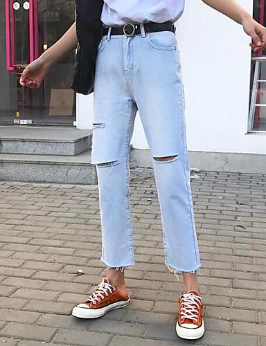 Dame Enkel Mikroelastisk Jeans Bukser,Avslappet Mellomhøyt liv Ensfarget