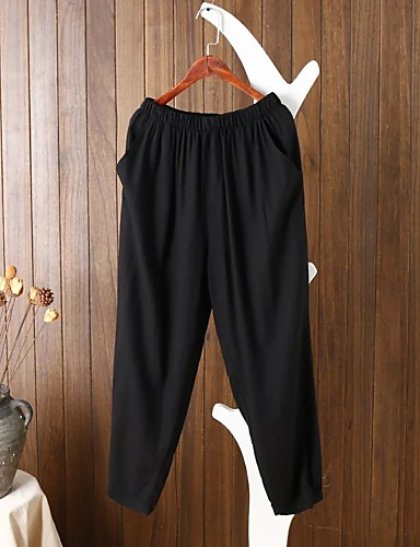 Women's Mid Rise strenchy Culotte Pants,Street chic Relaxed Pure Color Stripe Solid
