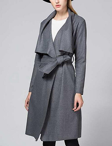 Women's Daily Street chic Winter Trench Coat,Solid Shirt Collar Long Sleeve Maxi Polyester