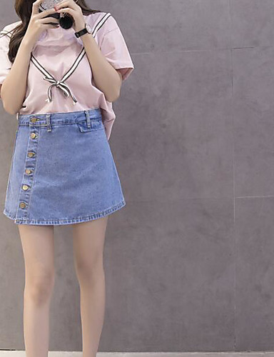 Women's Daily Casual Casual Summer T-shirt Skirt Suits,Striped Color Block Jeans Round Neck Short Sleeve Cotton Micro-elastic