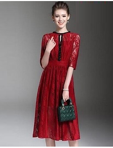 Women's Butterfly Sleeve A Line Dress - Solid Colored, Lace