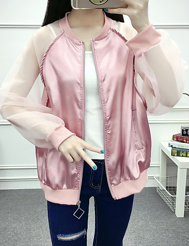 Women's Daily Modern/Comtemporary Autumn/Fall Fall/Autumn Jacket,Solid Color Block Round Neck Long Sleeve Regular Polyester