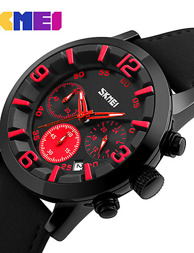 Men's Sport Watch / Military Watch / Smartwatch Chinese Calendar / date / day / Creative / Cool Genuine Leather Band Charm / Casual / Fashion Multi-Colored / Large Dial
