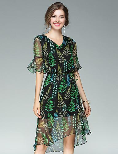 EWUS Women's Flare Sleeve A Line Dress - Floral, Mesh V Neck