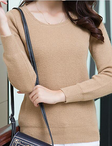Women's Going out Simple Regular Pullover,Solid Round Neck Long Sleeves Wool Cotton Spring Medium Stretchy