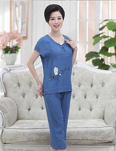 Women's Daily Casual/Daily Summer Blouse Pant Suits,Solid Floral V Neck Short Sleeve Cotton/nylon with a hint of stretch Inelastic