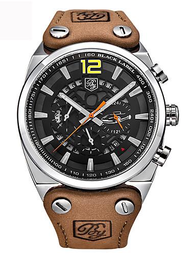 Homens Quartzo Relógio de Pulso Relógio Esportivo Chinês Calendário Impermeável Couro Legitimo Banda Amuleto Luxo Criativo Casual Relógio