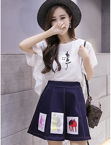 Women's Daily Going out Casual Summer Blouse Skirt Suits,Solid Print Round Neck Half Sleeve 100% Cotton Micro-elastic