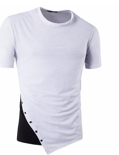 Bomull Kortermet,Rund hals T-skjorte Fargeblokk Enkel Fritid/hverdag Herre