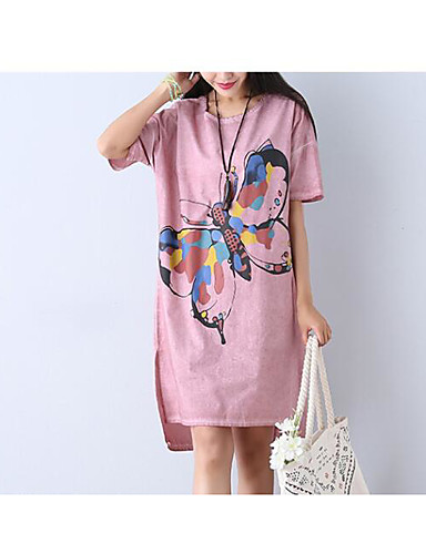 Women's Daily Going out Vintage Sexy Street chic A Line Loose Sheath Dress,Solid Floral Print Round Neck Midi Short Sleeves Cotton Linen