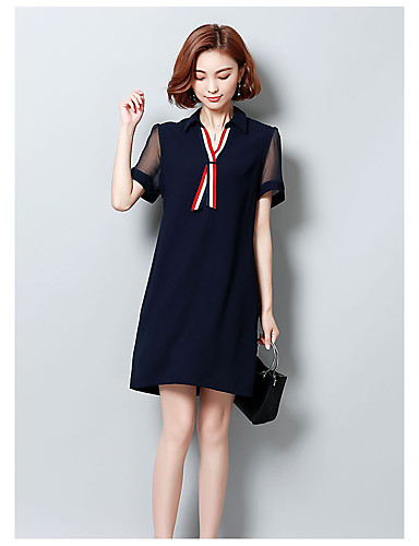 Women's Cute Chinoiserie A Line Loose Sheath Dress - Solid Colored High Rise