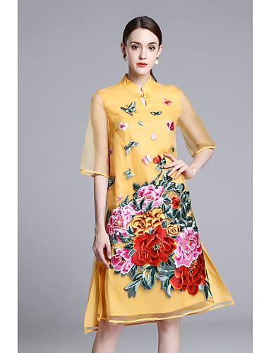 Mulheres Vintage Temática Asiática Solto balanço Vestido - Bordado, Flor Bordado Colarinho Chinês Assimétrico