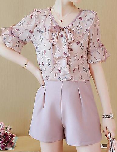 Mulheres Blusa Floral Calça