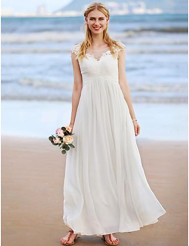 Linha A Decorado com Bijuteria Até o Tornozelo Chiffon Lace Over Tulle Vestidos de noiva personalizados com Apliques Franzido Cruzado de