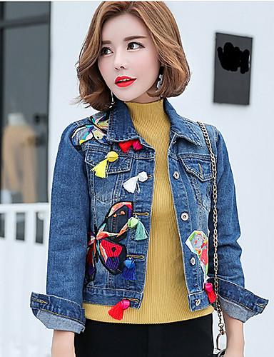 Women's Daily Casual Spring Denim Jacket,Print Shirt Collar Long Sleeve Short Cotton