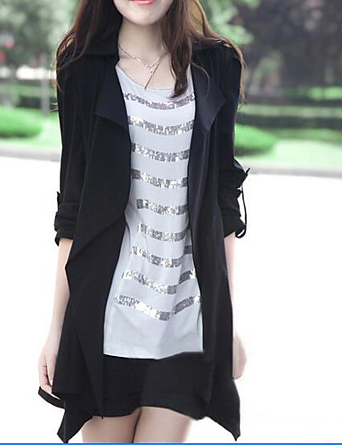 Women's Daily Modern/Comtemporary Fall Trench Coat,Solid Square Neck Long Sleeve Long Others