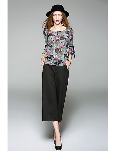 WHALE STUDIO Women's Daily Going out Cute Casual Spring Summer Blouse,Floral Round Neck Half Sleeves Polyester Medium
