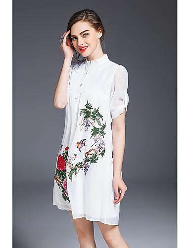 Mulheres Temática Asiática Solto Vestido - Bordado, Flor Colarinho de Camisa