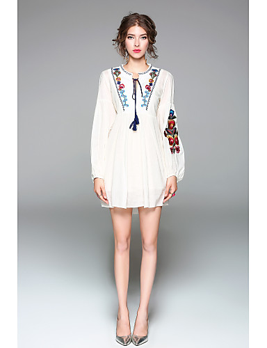 Women's Cute Lantern Sleeve Loose Dress - Solid Colored Embroidered
