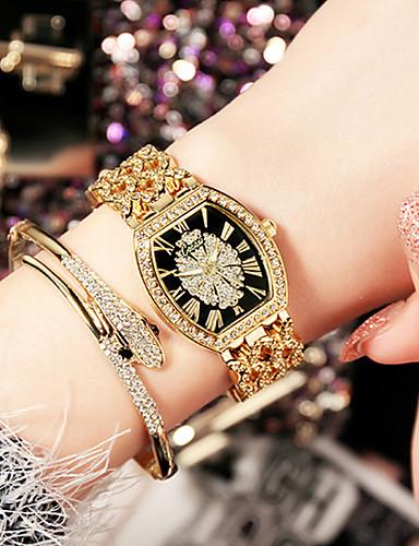 voordelige Armband Horloge-Dames Luxueuze horloges Polshorloge Gouden Horloge Roestvrij staal Zilver / Goud / Goud Rose Waterbestendig Creatief imitatie Diamond Analoog Dames Amulet Luxe Glitter Informeel - Zwart en Gold Zwart