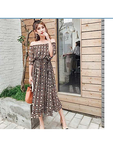 Women's Daily Going out Cute Sexy Street chic A Line Swing Dress,Solid Striped Geometric Off Shoulder Midi Short Sleeves Cotton Chiffon