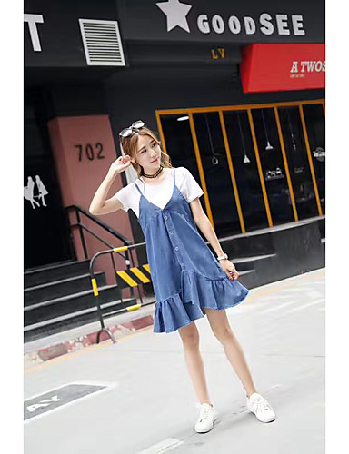 Women's Daily A Line Dress,Solid Round Neck Asymmetrical Short Sleeves Rayon Polyester 100%Cotton Summer Mid Rise Stretchy Medium