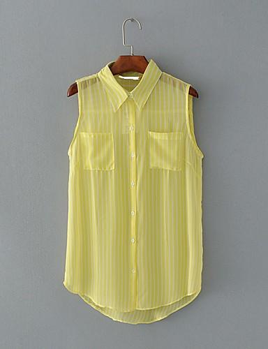 Silke Bomull Medium Ermeløs,Skjortekrage Singleter Stripet Sommer Enkel Gatemote Ut på byen Fritid/hverdag Dame