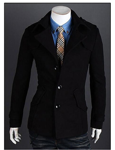 Men's Padded Coat,Simple Active Daily Casual Solid-Cotton Polyester Cotton Blend Polyester Cotton Long Sleeves