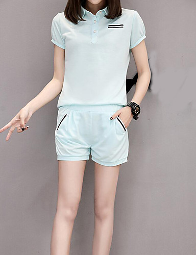 Women's Casual Cotton Hoodie - Solid Colored Pant Shirt Collar / Summer