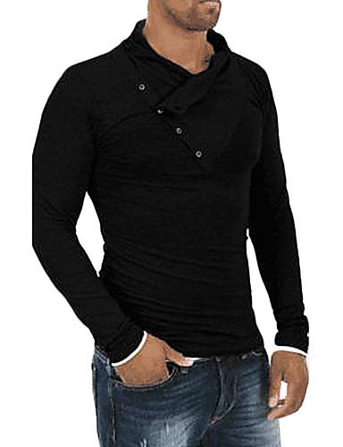 Homens Camiseta Activo Sólido Decote Redondo Delgado / Manga Longa