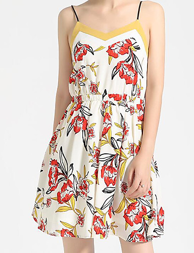 Women's Casual/Daily A Line Sheath Dress,Floral Strap Above Knee Sleeveless Cotton Polyester Summer Mid Rise Micro-elastic Medium