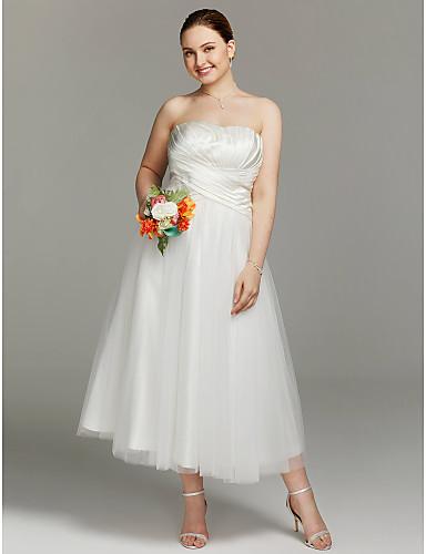 Linha A Sem Alças Longuette Cetim / Tule Vestidos de noiva personalizados com Franzido / Cruzado de LAN TING BRIDE®
