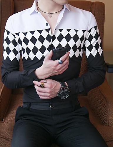 Bomull Tynn Klassisk krage Store størrelser Skjorte Herre - Geometrisk, Trykt mønster Svart og hvit / Langermet