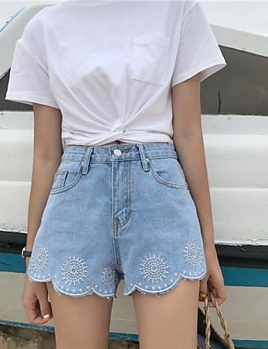 Women's High Waist Inelastic Straight Shorts Pants,Chinoiserie Straight Denim Solid