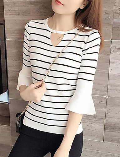 Women's Daily Casual Regular Pullover,Striped Round Neck Long Sleeves Others Spring Thick Stretchy
