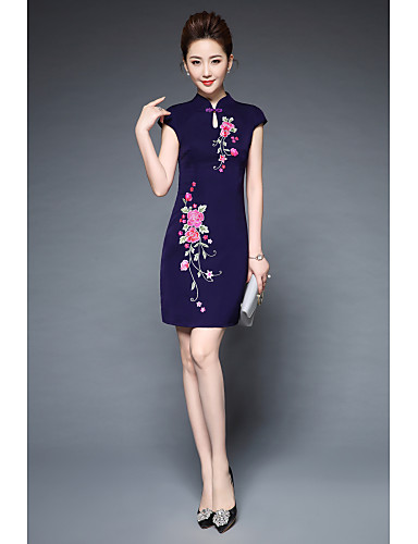 YBKCP Women's Party Going out Vintage Street chic Chinoiserie Sheath Dress,Embroidered Stand Above Knee Short Sleeves Polyester Others Summer
